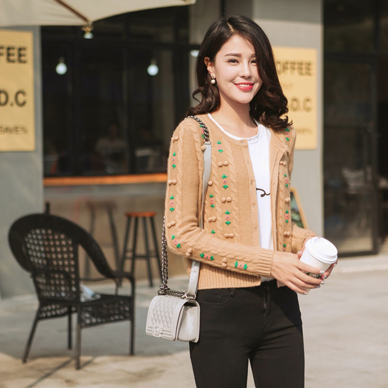 Cardigans With Flowers 2018 Womens 100% Cashmere Sweater Cardigan Coats Women Knitted Embroidery Short Cardigan With Buttons
