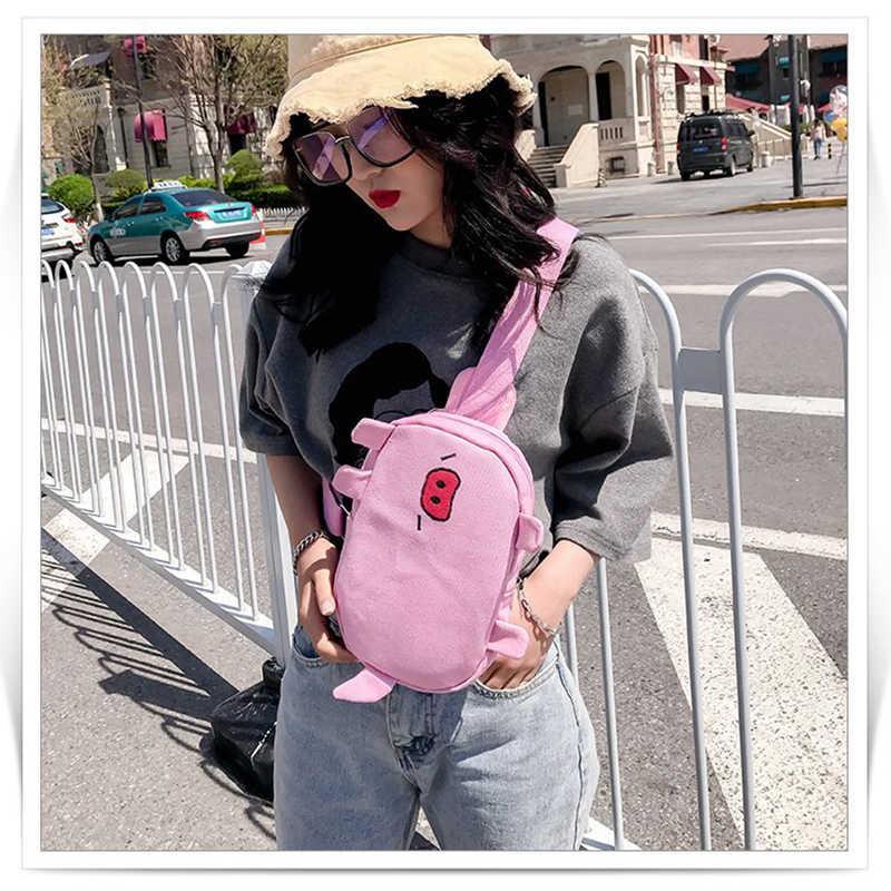 Mulheres de Mini Animais Porco Saco Crossbody Meninas Bonito Bolsa de Ombro Para As Mulheres bolsa de Moda Adolescente Lona Messager Sacos de Transporte Da Gota