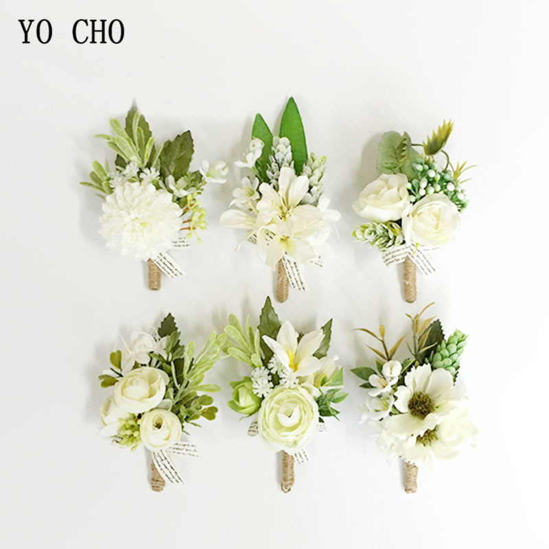 YO CHO Boutonniere Wedding Corsages And Boutonnieres White Ribbon Silk Flower Boutonnieres Groom Men Mariage Wedding Accessories