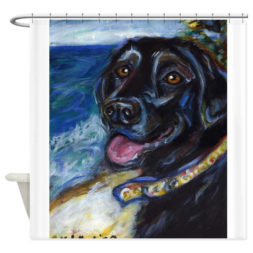 Happy Black Labrador Shower Curtain - Decorative Fabric Shower Curtain (69x70)