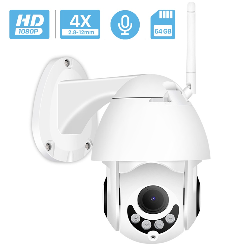 1080P Wifi IP Camera Outdoor Two Way Audio PTZ 5X Optical Zoom Night Vision IR 60M