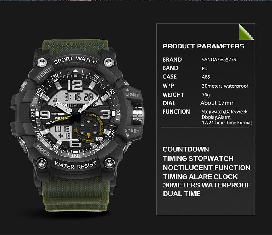HTB1FqDqubuWBuNjSszgq6z8jVXaH SANDA 759 Sports Men's Watches Top Brand Luxury Military Quartz Watch Men Waterproof S Shock Wristwatches relogio masculino 2019