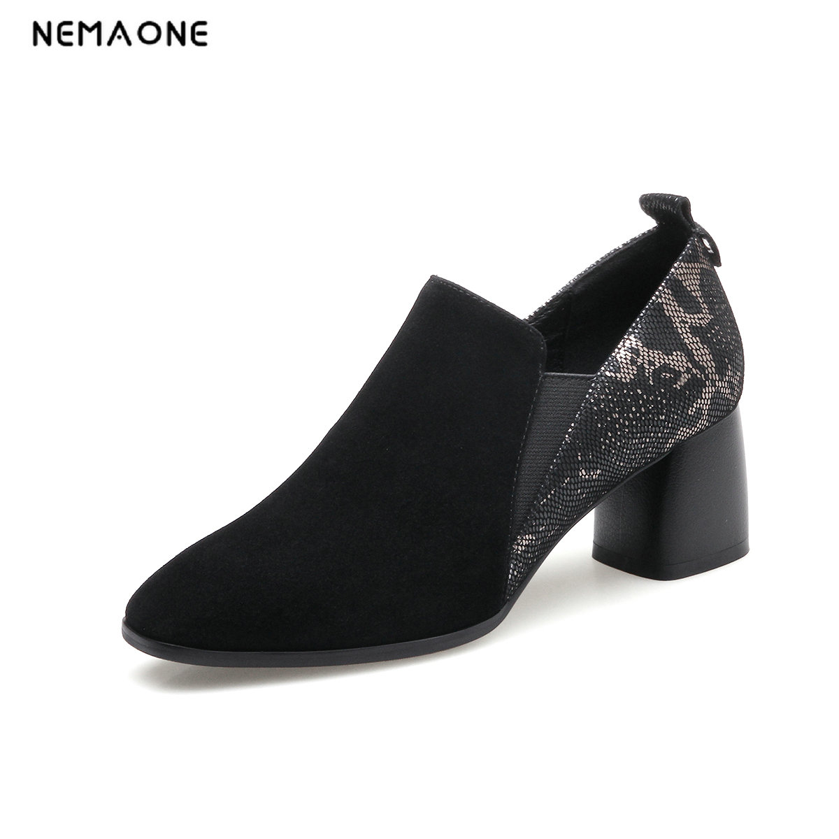 NEMAONE New Fashion 2018 Genuine leather suede zipper shoes woman ankle shoes high heels round toe Autumn 34-42 size black bassiriana new 2017 winter high boots shoes woman high heels round toe zipper genuine leather and suede black 35 40 size