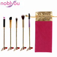 NOBLYOU 5 Pieces Sakura Sailor Moon Beauty Metal Makeup Brushes Kit Combs Bird Head For Eye Face Make Up Tool