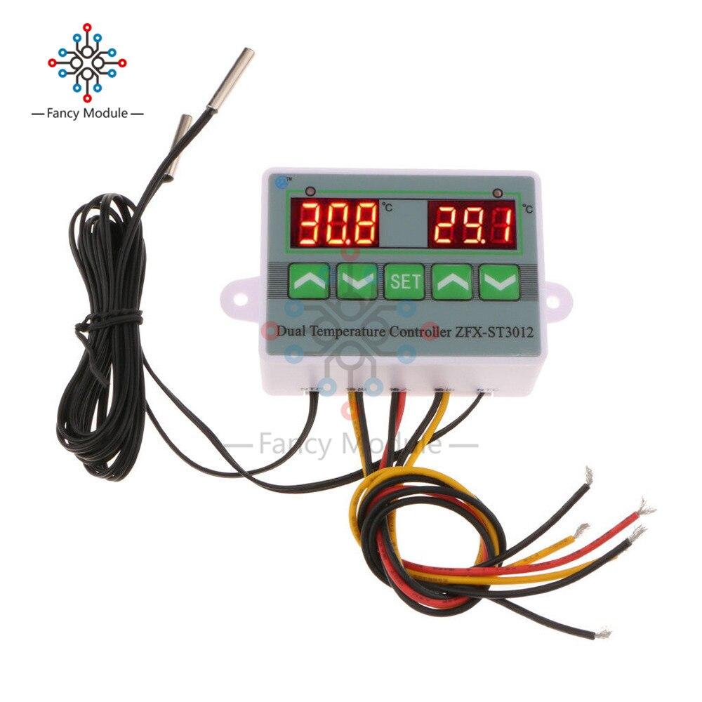 ZFX-ST3012 LEVOU Display Digital Termostato Controlador De Temperatura Duplo Termômetro DC 12/24/220 v Controle com NTC Thermo sensor de