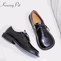 Krazing Pot new brand genuine leather low heel shoes woman Spring strange style pumps round toe lace up British school shoes L73
