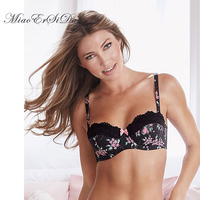 Floral Print Strapless Bra Women Bralette Lace Stitch Balconette Bra Fully Adjustable Straps 30 32 34