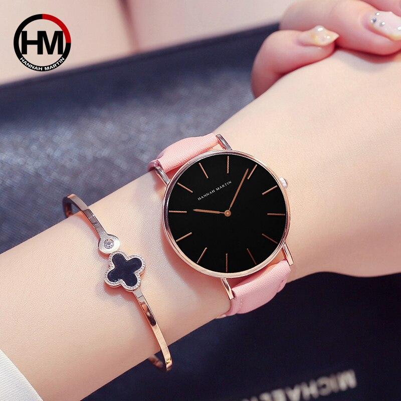 2018 HANNAH MARTIN Brand Fashion Simple Japan Quartz Movement Watch Leather Strap Nylon Clock Women Analog Waterproof Wristwatch 4