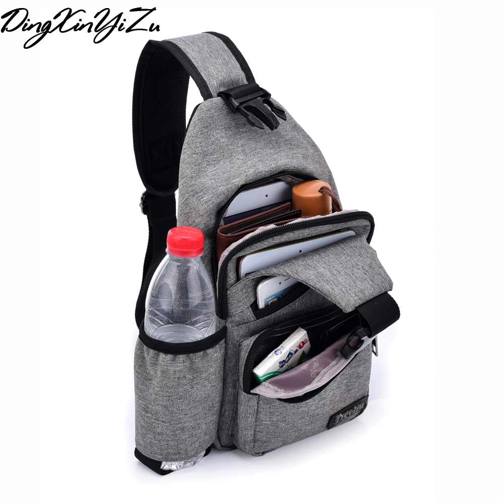 (USB Charge Interface) Men Chest Bag Canvas Sling Bag Shoulder Satchel Large Crossbody Charing Bag With Side Bottle Pocket