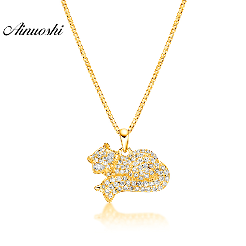 AINUOSHI 10K Solid Yellow Gold Pendant Shining Fox Pendant SONA Diamond Women Men Children Jewelry Clever Fox Separate Pendant