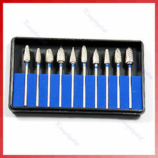 10 unids/set brocas dentales de acero de tungsteno para laboratorio
