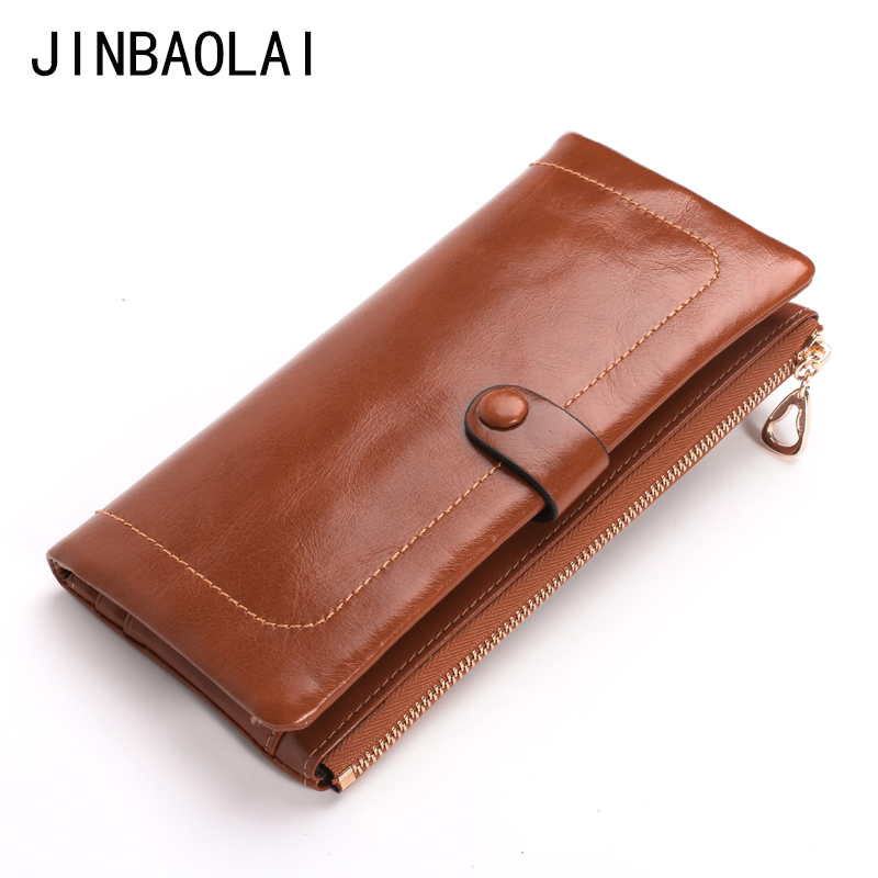 JINBAOLAI Women Genuine Leather Clutch Wallet Long Fashion Designer Women Wallets Brand Clutch Purse Female Card Holder Carteira new brand genuine leather purse for women real leather women s wallet clutch bag women long wallet purse carteira 2016