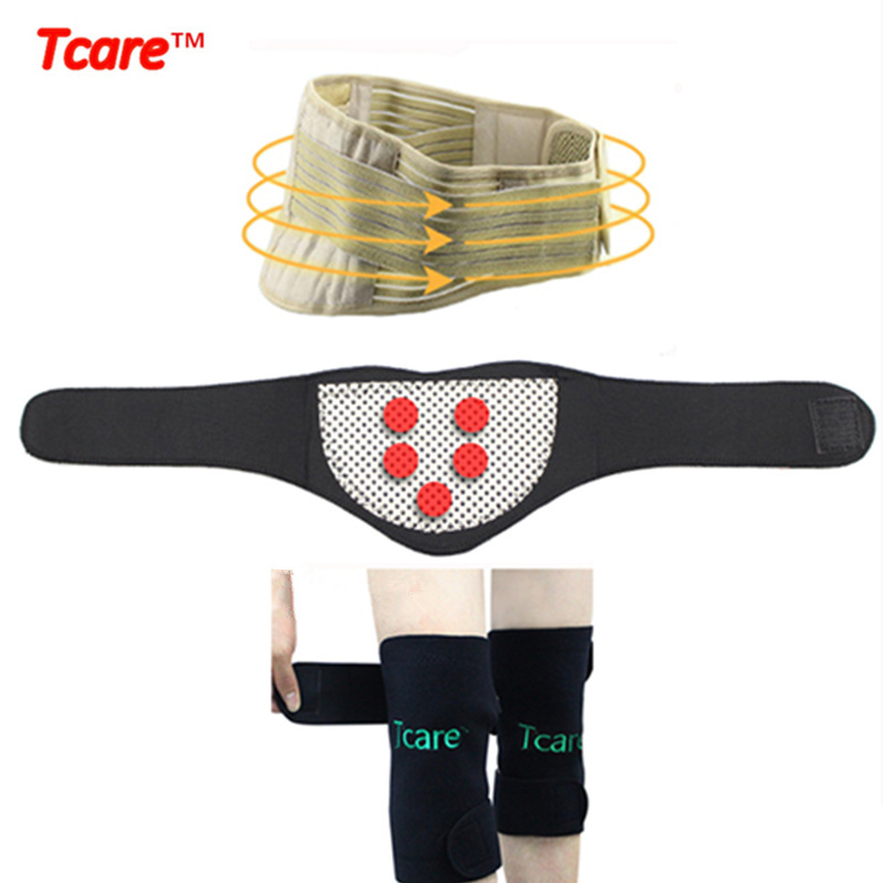 Tcare Magnetic Therapy Tourmaline Brace Set Knee Protector Pads Neck Massage Brace Waist Care Support Belt Self-heating