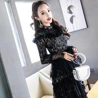 2018 autumn women elegant vintage floral lace party cocktail special occasion bodycon a line wiggle midi mid calf sheat