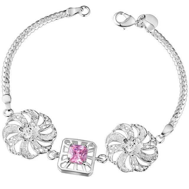 Biżuteria bransoletki kryształ kwiat bransoletka moda najbardziej popularne Hot Charm bransoletka srebrna bransoletka duże austriackie kryształy AB205