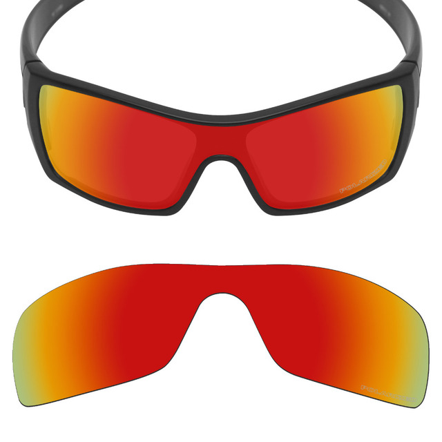 c1921bd535c Mryok+ POLARIZED Resist SeaWater Replacement Lenses for Oakley Batwolf Sunglasses  Fire Red