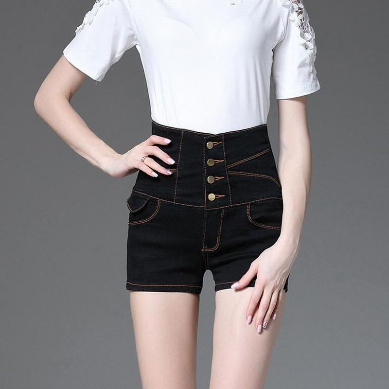 YGYEEG Denim Shorts Women 2018 Fashion Ladies High Waist Summer Short Jeans Sexy Bottom Pockets Shorts For Woman White Black