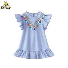 New Kids Baby Girls Dress Tassel Ruffles Sundress Party Casual Short Sleeve Princess Dresses Clothes
