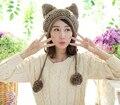 Очень Мило Лиса Уши Кошки Ухо Новый Зимы Женщин Шляпа 100% Ручной Работы Вязаная Шапка Ухо Муфты Hat Cap