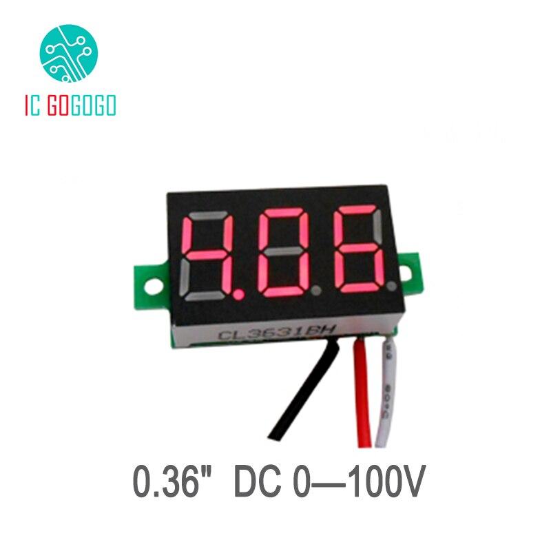 """0.36 """"dc 0-100 V Module De Voltmètre Numérique Rouge Bleu 0-100 V Trois Fils Led Affichage Tension Indicateur De Courant Moniteur Détecteur"""