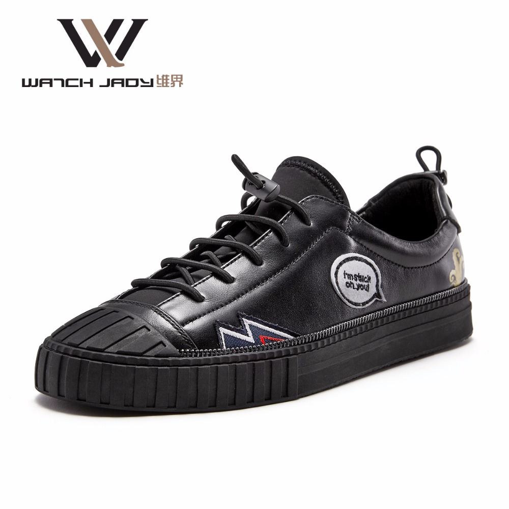W.J Genuine Cow Leather Mens Shoes Casual Spring Summer Autumn Winter Lace Up Graffiti Woven Badge Black genuine leather mens oxford shoes breathable men flats casual martin boots shoes 2017 spring autumn summer lace up unisex shoe