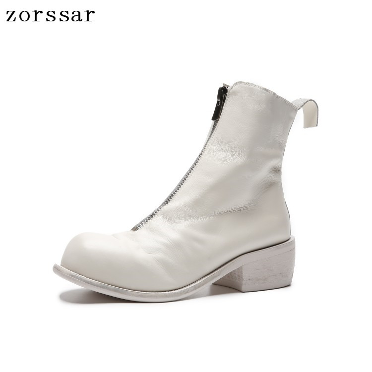 {Zorssar} 2018 New fashion Genuine Leather Women ankle Boots High heel Booties Soft Cowhide Women's Shoes Zip Ankle short Boots 2017 genuine leather women ranger boots famous designer motorcycle fashion work brand shoes zip front design ankle short booties