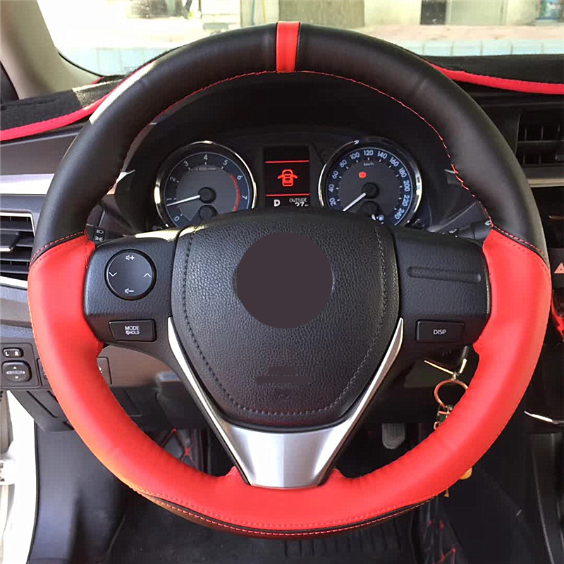 Stitch On Steering Wheel Skin Wrap Cover Red /& Carbon Fiber w//Needle /& Thread