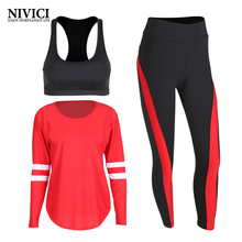 2017 Arrival 3 Pcs Red Women Yoga Set Tights Jogging For High Elastic Running Leggings Fitness Breathable Sport Suit Outdoor