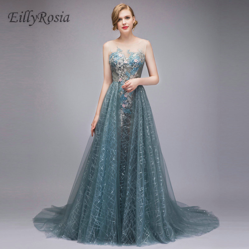 Dusty Blue Luxury Evening Dresses with Train <font><b>Sexy</b></font> See Through <font><b>Mother</b></font> <font><b>of</b></font> <font><b>the</b></font> <font><b>Bride</b></font> Evening Gowns robes de soiree <font><b>2018</b></font> longue image