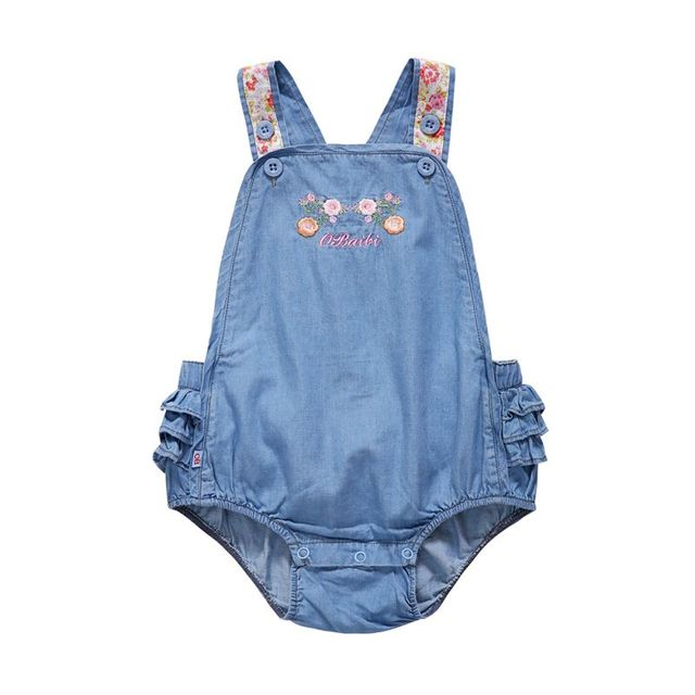 0ae2fca9999b Toddler Denim Embroidered Romper Kid Baby Girl Strap Jeans Infant ...