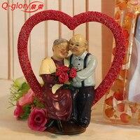 Q-gloire résine artisanat décor à la maison maison ornements De Jardin en Résine Décoration Accessoires Figures décoratives Miniature love figurines