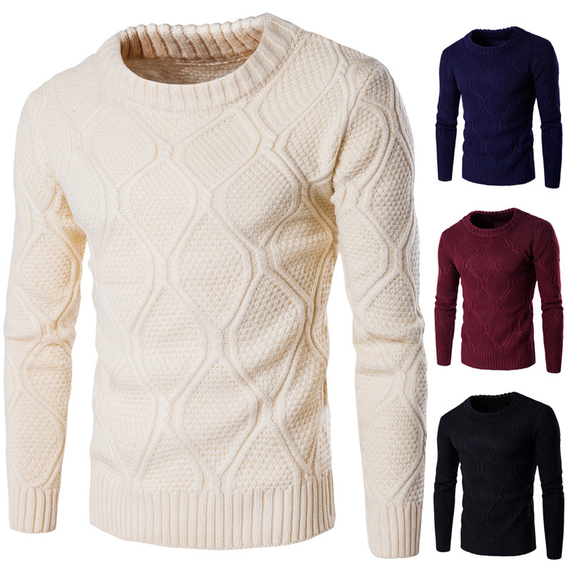 Nice New Men Thickening Warm Stand Collar Sweater Fashion Cotton O-neck Slim Long Sleeve Sweater For Male Autumn Winter