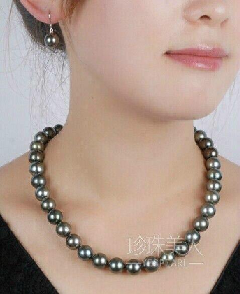 Superbe 10-11 MM naturel tahitien noir vert perle collier boucle d'oreille