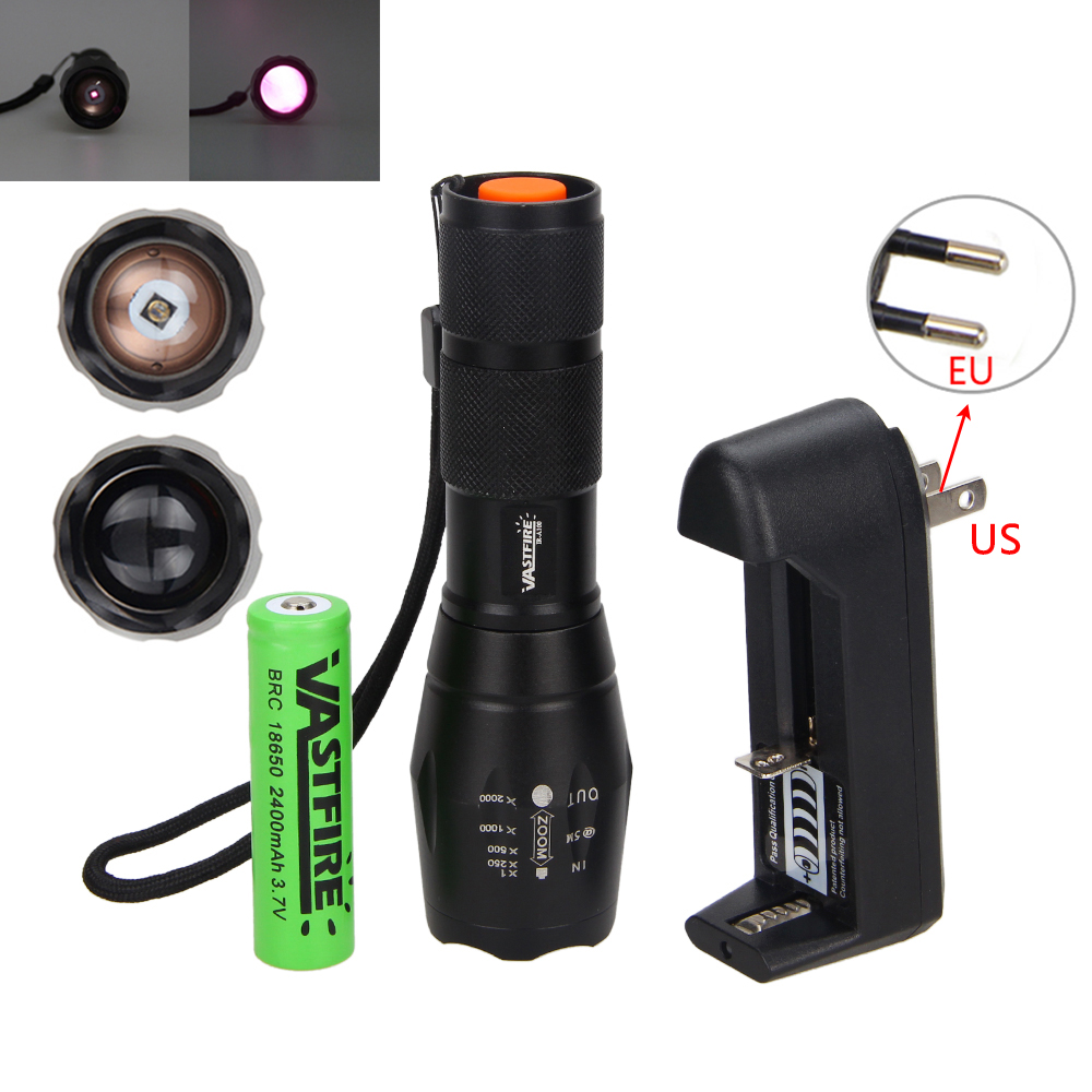Zoomable IR 940nm 7W Night Vision Infrared LED Flashlight Hunting Lamp Torch +18650 Set