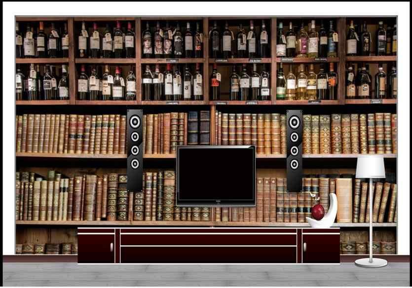 วอลล์เปเปอร์ที่กำหนดเอง 3D ภาพจิตรกรรมฝาผนังวอลล์เปเปอร์สำหรับผนัง 3 D ตู้หนังสือภาพจิตรกรรมฝาผนังยุโรปไวน์ร้านอาหารผนังชั้นวางวอลล์เปเปอร์