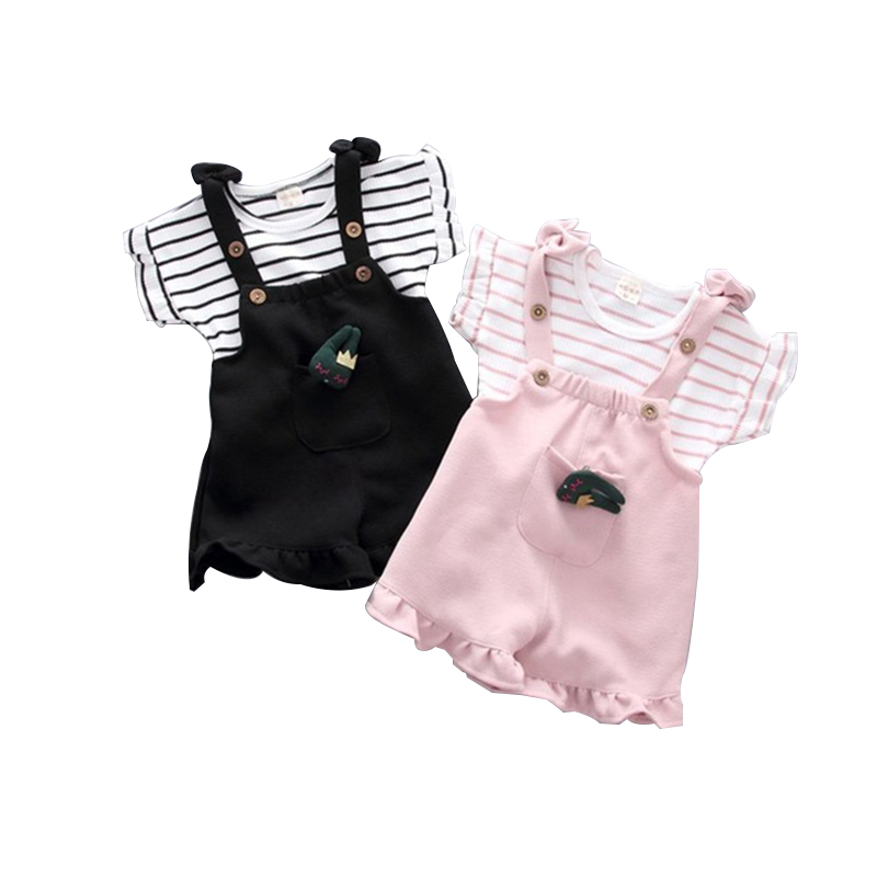 2018 Summer Toddler Baby Girls Clothing Sets New Summer Fashion Style Stripe T-Shirts+ Shorts Sweet 2Pcs Girls Clothes Sets children clothing sets 2017 new summer style baby boys girls t shirts shorts pants 2pcs sports suit kids clothes for 2 6y