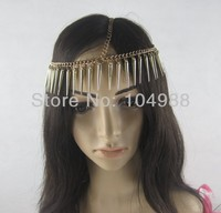 FREE SHIPPING 2014 STYLE H54 CHINA MADE WOMEN FASHION GOLD CHAIN GOLD LONG RIVETS CHAIN HEAD JEWELRY