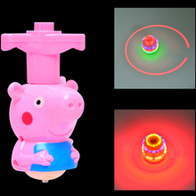 cartoon pig spinning top gyro light music infrared light emitting toys 4 luminous gyro toys for