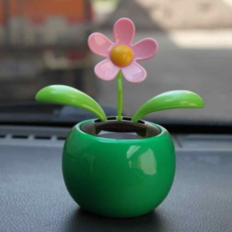 bdf56d9439ab2 ... Plastic Crafts Home Car Flowerpot Solar Power Flip Flap Flower Plant  Swing Auto Dance Toy Car ...