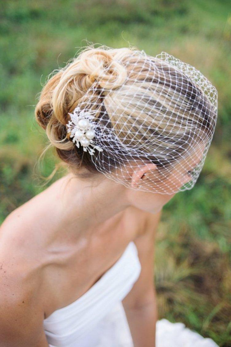 Bridal Birdcage Veil, Wedding Veil, Bridal Hair Comb, Pearls Comb Veil, Pearl Veil