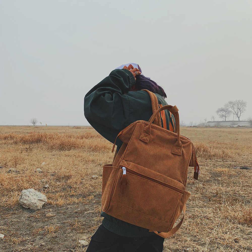 Вельветовые рюкзаки для женщин 2019 модные зимние повседневные стильные Женские однотонные рюкзаки школьные рюкзаки для девочек-подростков