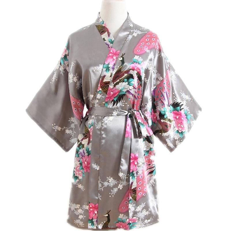 Sexy XXXL Bride Bridesmaid Wedding Dressing Robe Gray Lady Kimono Bath Gown Large Size Casual Sleepwear Floral Nightgown SG73