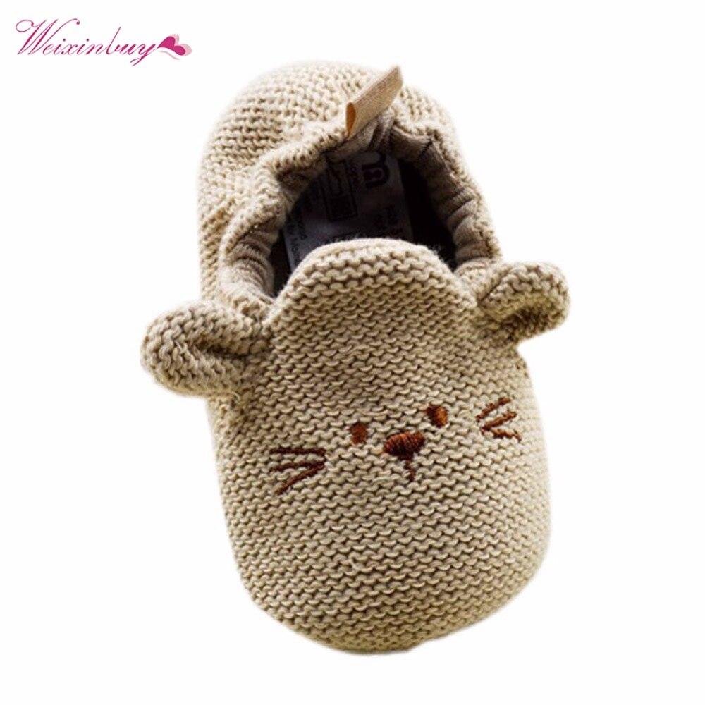 10d04dc16e65b Infant Toddler Bébé En Tricot Mignon Souris Chaussures Nouveau-Né Garçon  Fille de Bande Dessinée Premiers Marcheurs 0-18 M