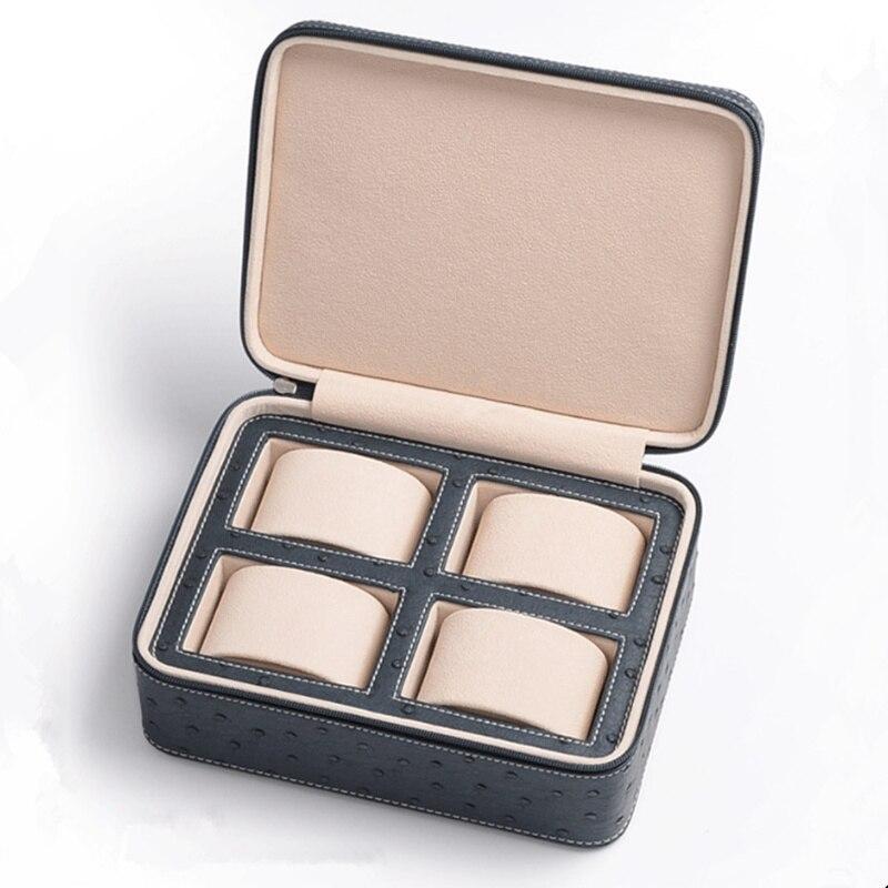 New PU Leather Watch Box Ostrich Skin Pattern Watch Storage Case Black Luxury Jewelry Gift Box
