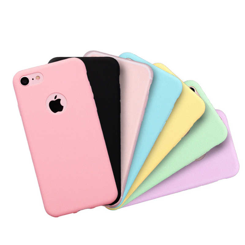 Phone Case For iPhone 7 6 6s 8 X Plus 5 5s SE XR XS Max Candy Color Silicone Couples Soft Simple Solid Color Fashion Case Cover