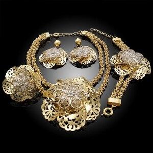 Image 3 - Yulaili Pageantry نمط الزخرفية تصميم الأزياء أطقم مجوهرات دبي زهرة كبيرة شكل قلادة قلادة أقراط سوار خاتم