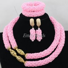 Dubai 18K Gold Plated Jewelry Nigerian Wedding Baby Pink African Beads Jewelry Set Bridal Necklace Sets Free Shipping AIJ410