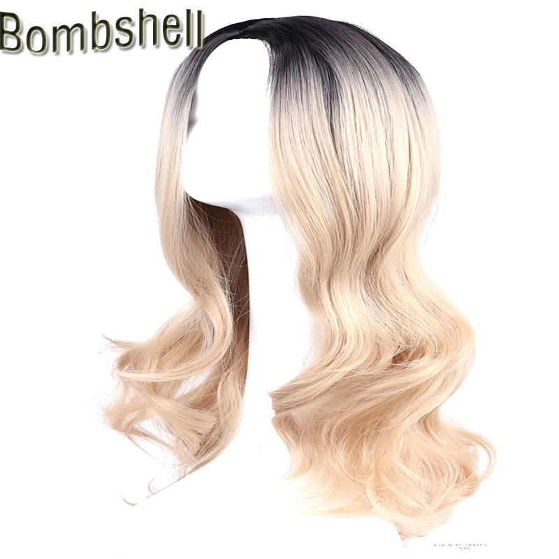 Bombshell Black Roots Ombre Light Brown Natural Wave Synthetic Wig Glueless Heat Resistant Fiber Hair Middle Part For Women