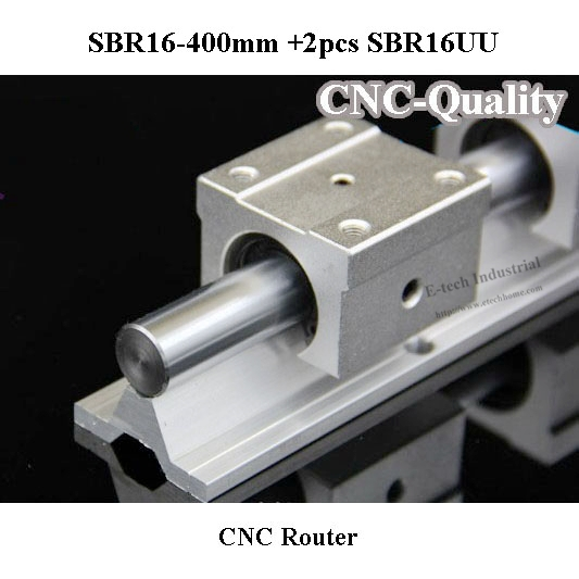 High Quality CNC Linear Guide Linear Rail SBR16 Length 400mm +2 pcs Linear Bearing Block SBR16UU Bearing Slider CNC Router large format printer spare parts wit color mutoh lecai locor xenons block slider qeh20ca linear guide slider 1pc