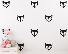 DIY Fox Face Cute Wall Decals - Nursery Kids Room Decorative Decals Cute Fox Patterned Art Designed Wall Sticker Kids Room W-785 printio fox kids
